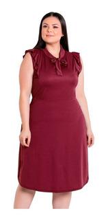 Vestido Moda Evangélica Kit Com 2 Plus Size Rodado Gola Laço