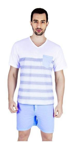 Kit Com 2 Pijamas Masculino Adulto Verão Roupa Dormir Curta