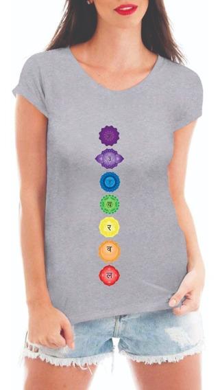 Camiseta Feminina 7 Chakras Blusa Esotérica Equilíbrio Logo
