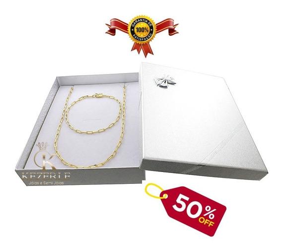 Corrente Banhada A Ouro 18 + Pulseira Cartier + Box Presente