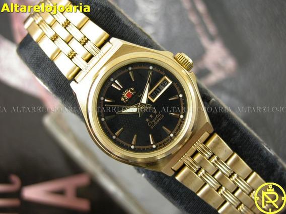 Relógio Feminino Orient Plaque Ouro Automático Fnq1s001b9