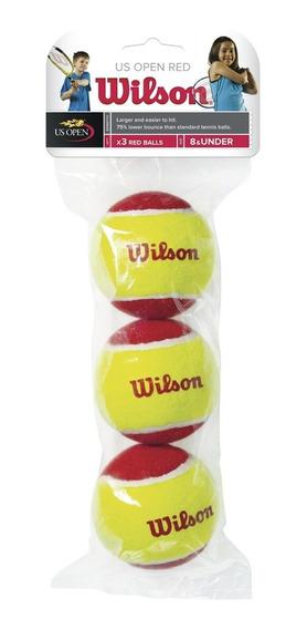Bola Wilson De Tênis Starter Balls Vermelha - Tubo C/ 3 - Tê