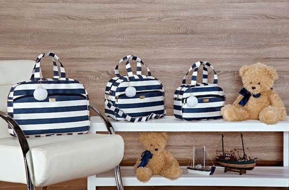 Kit Bolsa Maternidade 3 Peças Listrada Azul + Kit Berço Urso