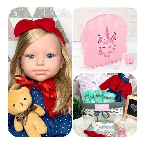 Boneca Bebê Reborn Acompanha Mochilinha E Vários Acessórios