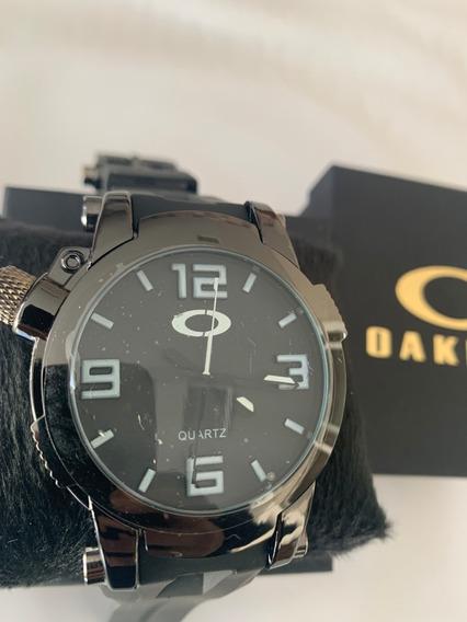 Relógio Masculino Esportivo Oakley Aço Holeshot Borracha
