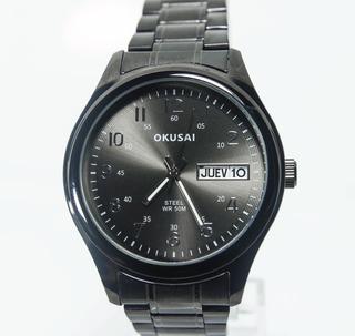Reloj Hombre Okusai Okh78 Sumergible 50 Mts Calendario Negro Garantia 1 Año