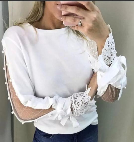Blusa De Frio Casaquinho Feminina Suéter Tricot Perolas