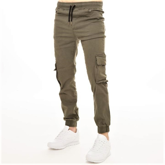 Pantalon Cargo Hombre Chupin Gabardina Elastizada