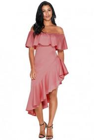 Vestido De. Noche Rosa Dama Asimétrico, 190 Envío Gratis