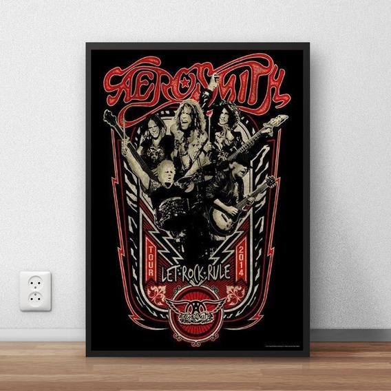 Quadro Decorativo Aerosmith Com Moldura A4 Premium