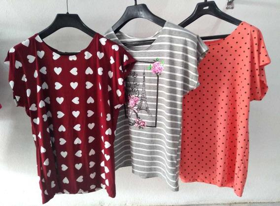 Kit Blusas Femininas Viscolycra Plus Size