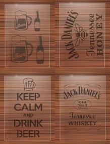 Stencil, Jack Daniels Bebidas Pintura 4 Itens
