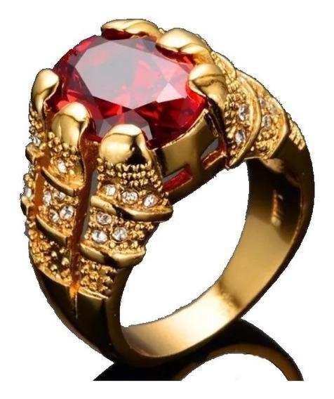 Anel Pedra Vermelha Granada Masculino Homem Banhado Ouro 18k