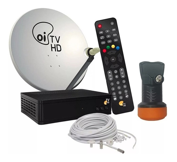 Receptor Oi Tv Livre Hd + Kit Antena 60 + 17m Fios Lnb Duplo