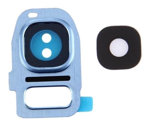 Galaxy S7 Edge Cubierta Camara Lente Cristal Marco Azul