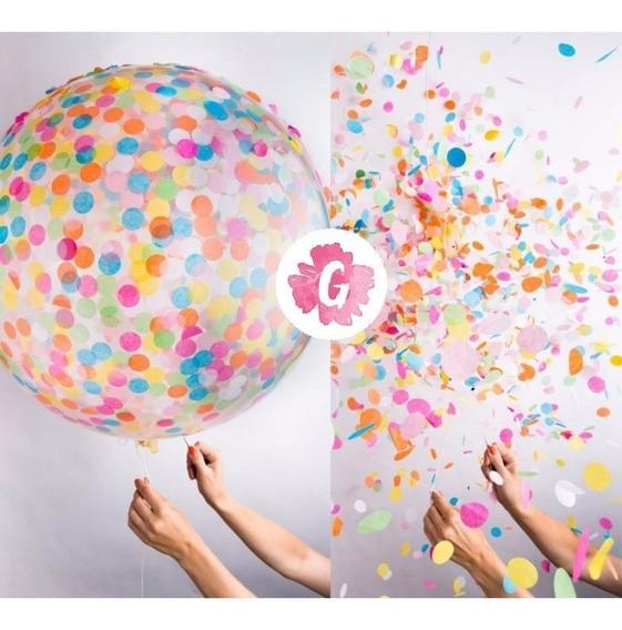 Piñata Inflable Transparente Cristal 60cm Confetti Dentro