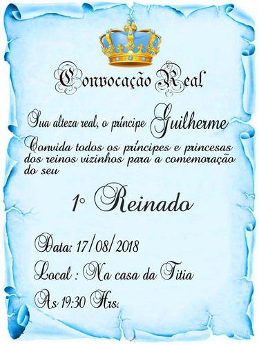 Imagem 1 de 5 de 200 Convite Pergaminho Realeza Azul (menino)