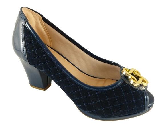 Peep Toe Confort Sapatoweb Matelassê Marinho