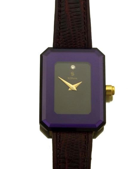 Relogio De Pulso Feminino H.stern Em Ouro 18k Visor De Safira Mostrador Com Brilhante Quadrado Movimento A Quartz J17307