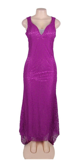 Hermosos Vestidos De Encaje Violeta Con Detalle Plata Cola