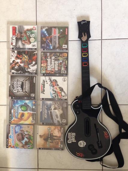 Ps3 + 2 Controles + 11 Jogos + Guitar Hero Com Jogo Metalica