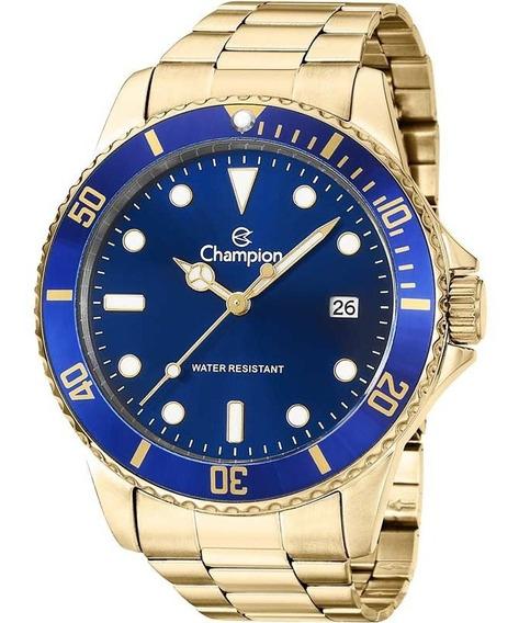 Relógio Champion Masculino Analógico Dourado Azul Original