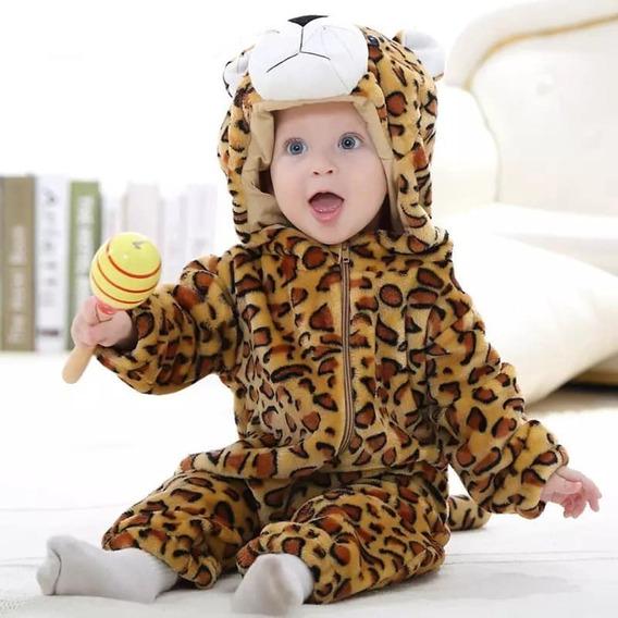 Pronta Entrega - Macacão Bebê Fantasia Leopardo Infantil