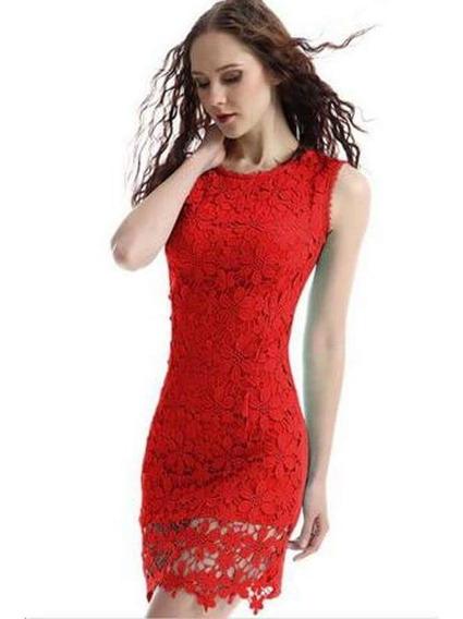Vestido Importado Sexy Rojo Encaje Mujer