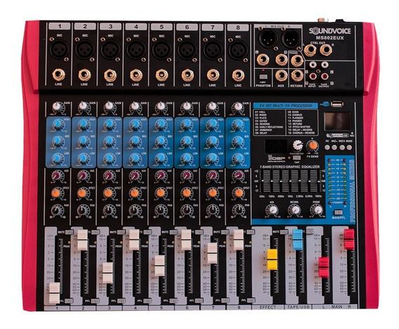 Mesa De Som 8 Canais Soundvoice Ms-802 Eux Analogica Usb