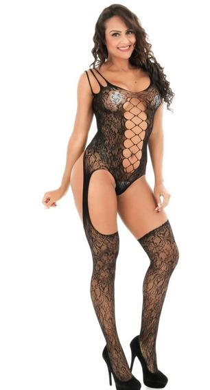 Body Sensual Macacão Arrastão Meia Calça Sexy
