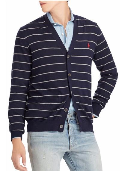 Cardigan Algodon Striped Navy/grey Polo R. Lauren