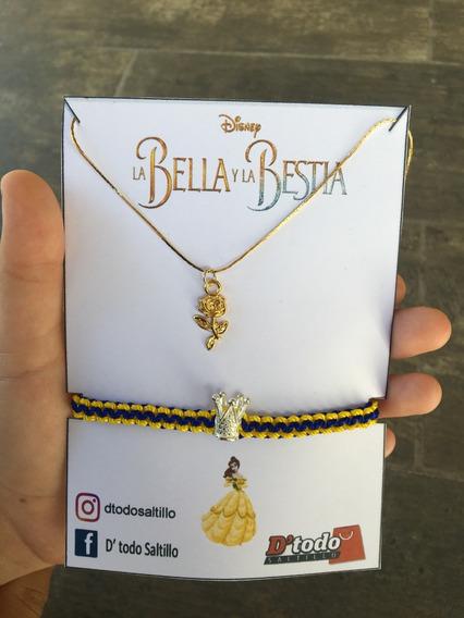 Set De Collar Y Pulsera Disney Bella Y La Bestia