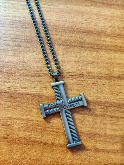 Corrente Colar Masculino Crucifixo Metal Ônix