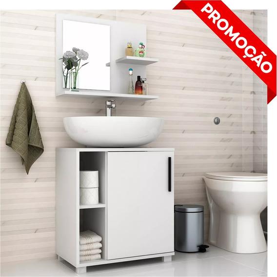 Conjunto Gabinete Para Banheiro Com Espelho Balcão Painel