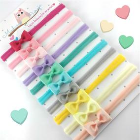 Kit Com 10 Faixas Mini Laço - 4 Cm Bebê Menina Recém Nascido