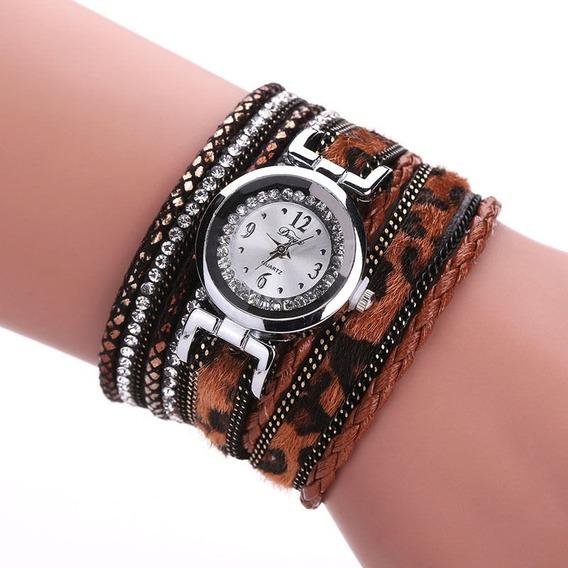 Relógio Pulseira Feminino Leopardo Importado Couro Ecológic