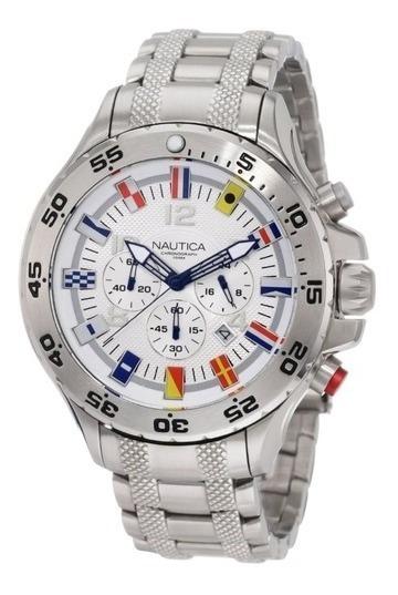 Relógio Jc07 Nautica Branco Pulseira Aço - Bandeiras + Caixa