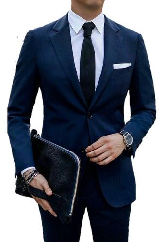 Imagem 1 de 1 de Terno Masculino  Slim Azul Marinho