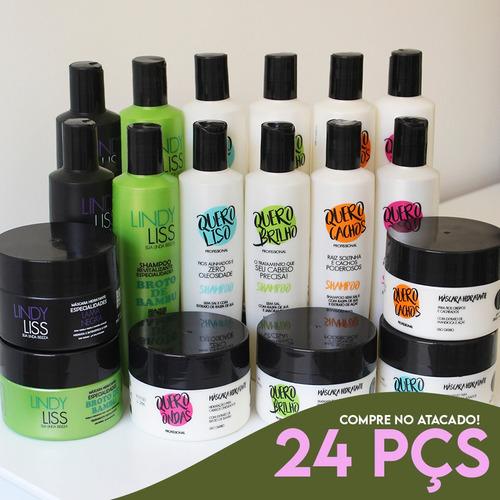 24 Itens (08 Kits) = Shampoo, Condicionador E Máscara