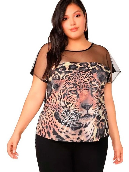 Remera Blusa Shein Estampa Tigre Tiger T Esp 2x 3x