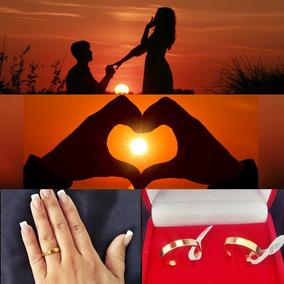 Dia Dos Namorados Par Alianças 5mm Inox Polida Banhada 18k