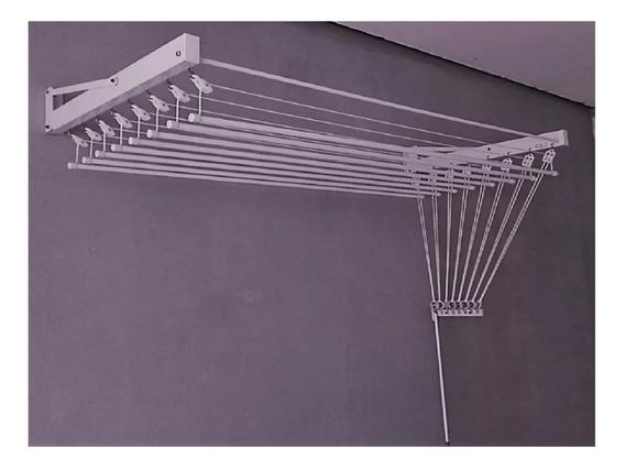 Varal Parede Individual 10 Varetas Alumínio Branco - 120cm