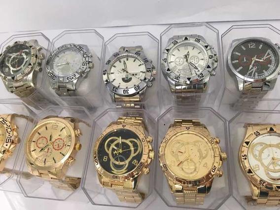 Kit Com 10 Relógios Masculinos Aço + Caixa Atacado Barato
