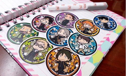 Set De 9 Stickers Circulares De Anime - Haikyuu!