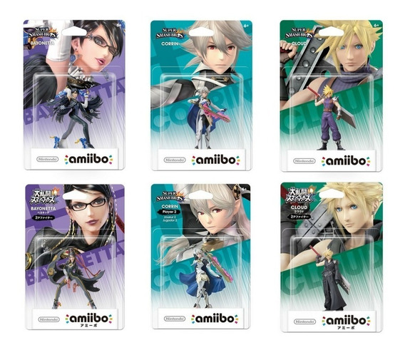 Amiibo Bayonetta Corrin Cloud Smash Bros Player 1-2 P1 P2