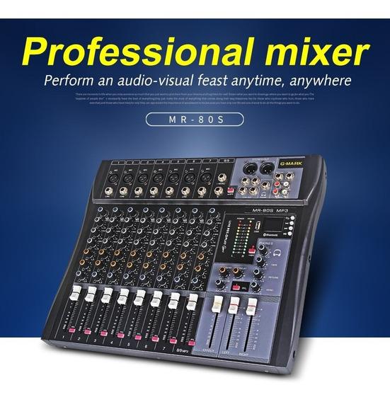 Mesa De Som Mixer G-mark Mr80s Bluetooth - Produto No Brasil