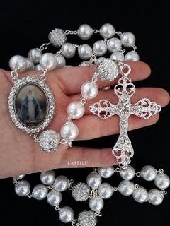 Terço De Noiva, Prata, Nossa Senhora Das Graças, Com Pérolas