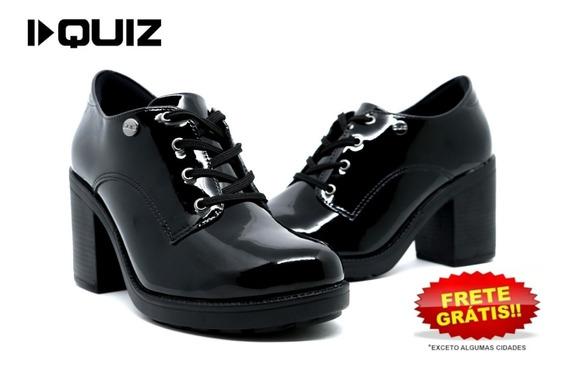 Sapato Oxford Feminino Quiz 67-77102 Verniz Original Preto