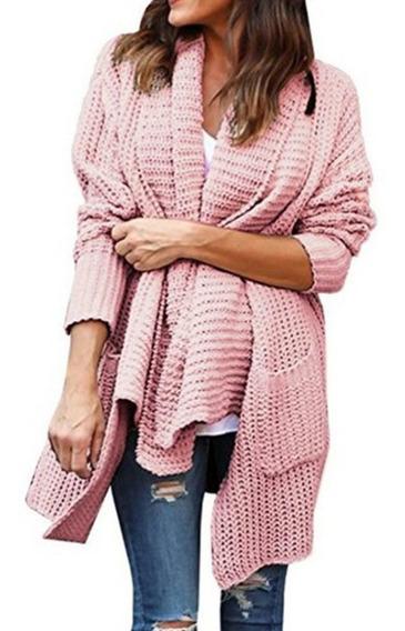 Mujeres Suelto De Manga Larga Multi-color Suéter Abrigo Con