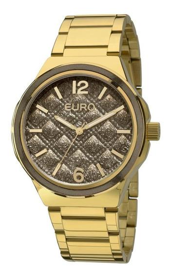 Relógio Euro Matelassê Dourado - Liquidação
